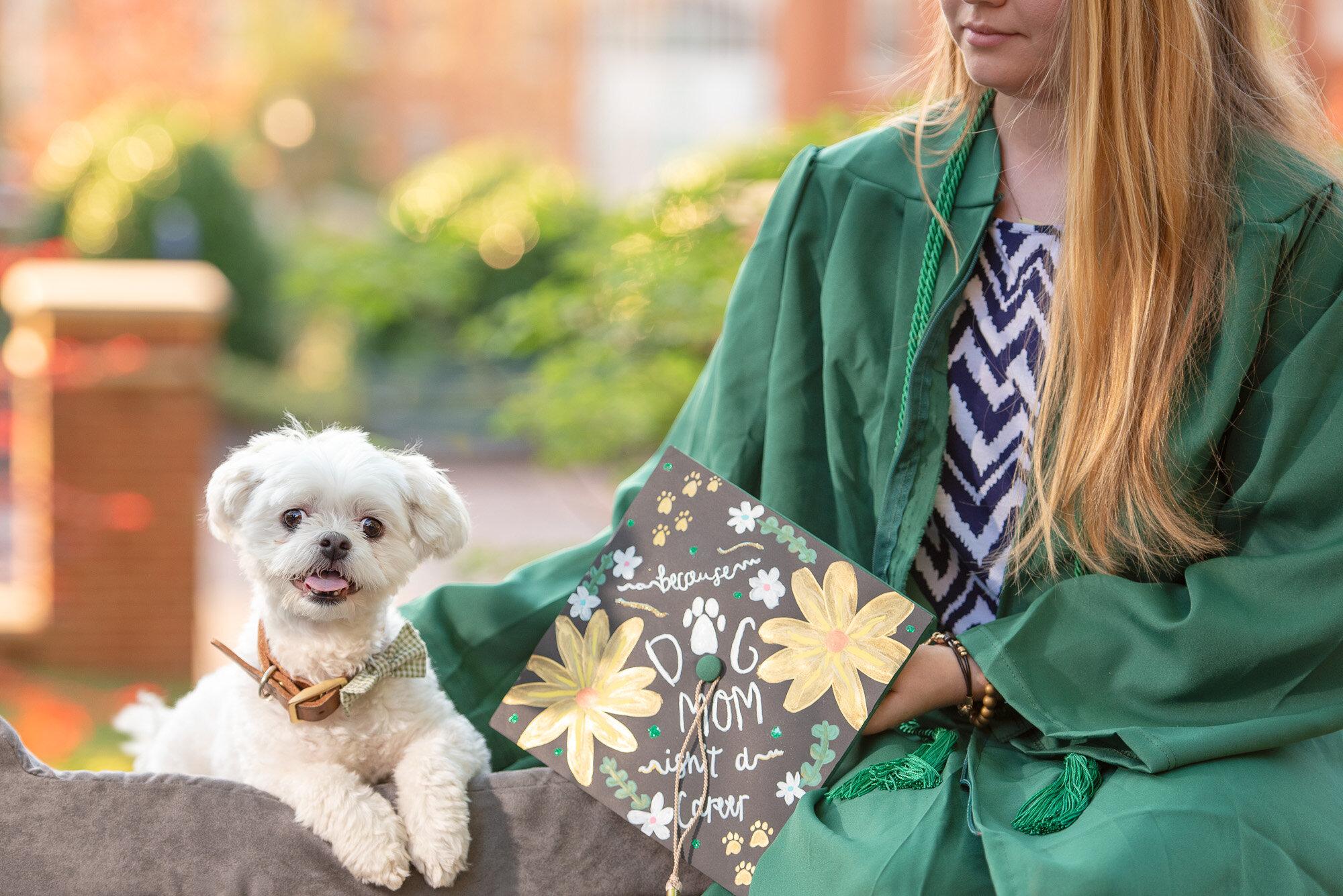 dog mom graduation photo