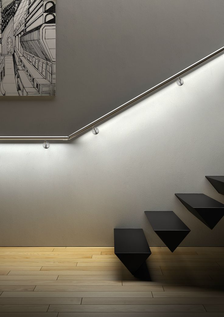 Lighting Option 1: Illuminated hand rails are unobtrusive, continuous and make sure the light is where you need it   Via IAMDESIGN