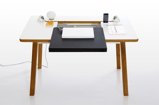 Visually simple with a number of accessible friendly features, The Studio Desk from BlueLounge brings functionality to the Small Space work area | Photo courtesy BlueLounge