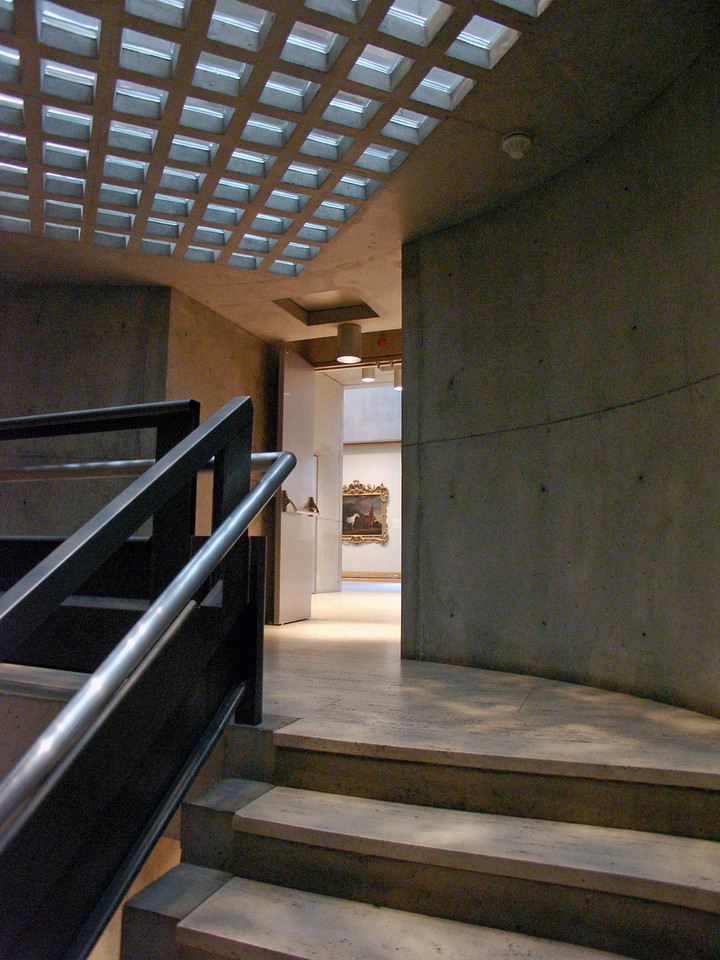 The main staircase at the Yale Museum for British Art, designed by Louis Kahn, includes a secondary handrail - lower and continuous - for added accessibility.   Photo by Marc Harary