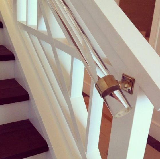 A secondary hand rail made from Lucite can allow your existing staircase to stand out while providing a more accessible alternative   Via Pinterest