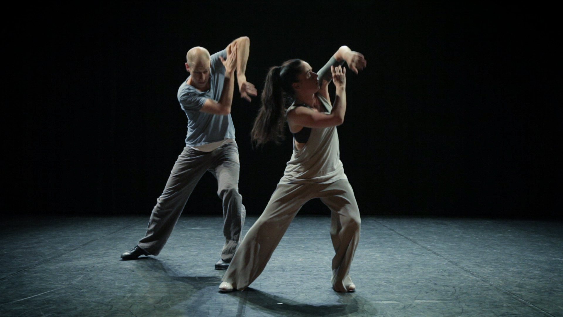 CABOOM #23: KNIVES  (PREMIERE)   2018 | Germany | 5'55'' Director / Choreographer: Sebastian Weber  High energy contemporary tap dance choreography performed by two dancers, their digital doubles, and a jazz drummer.
