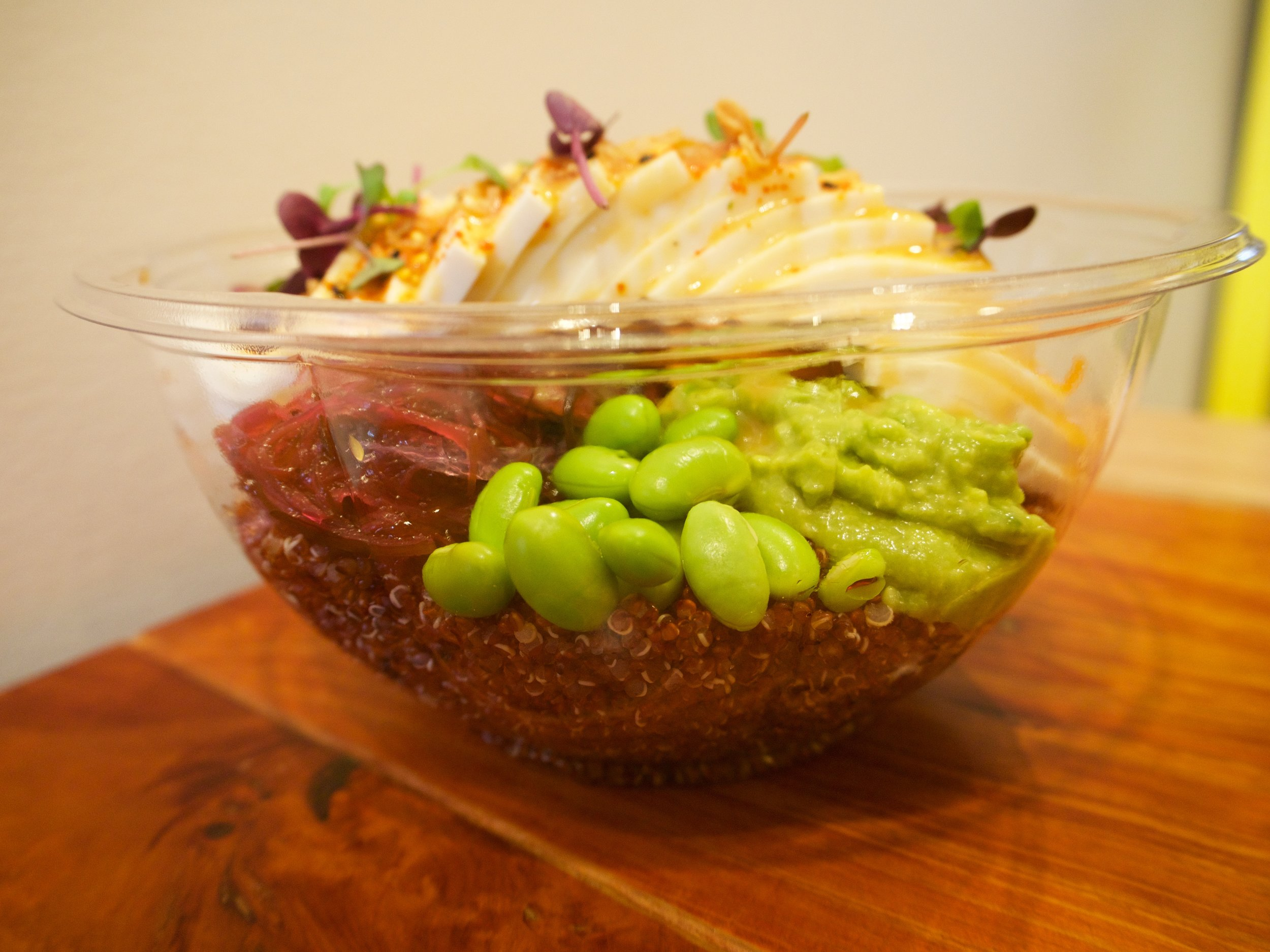 Details! You can order the poke bowl with either a white rice, brown rice, quinoa or salad base.