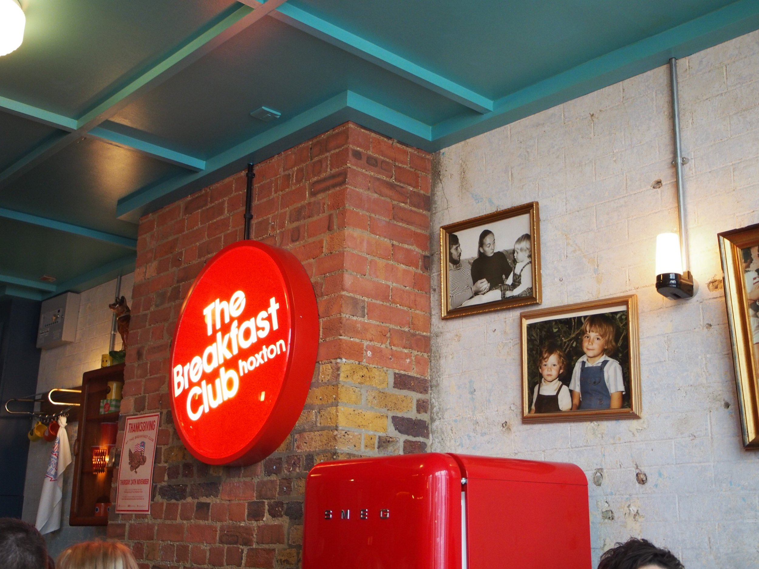 The Breakfast Club  which has a few locations in East London. This is their Hoxton restaurant.