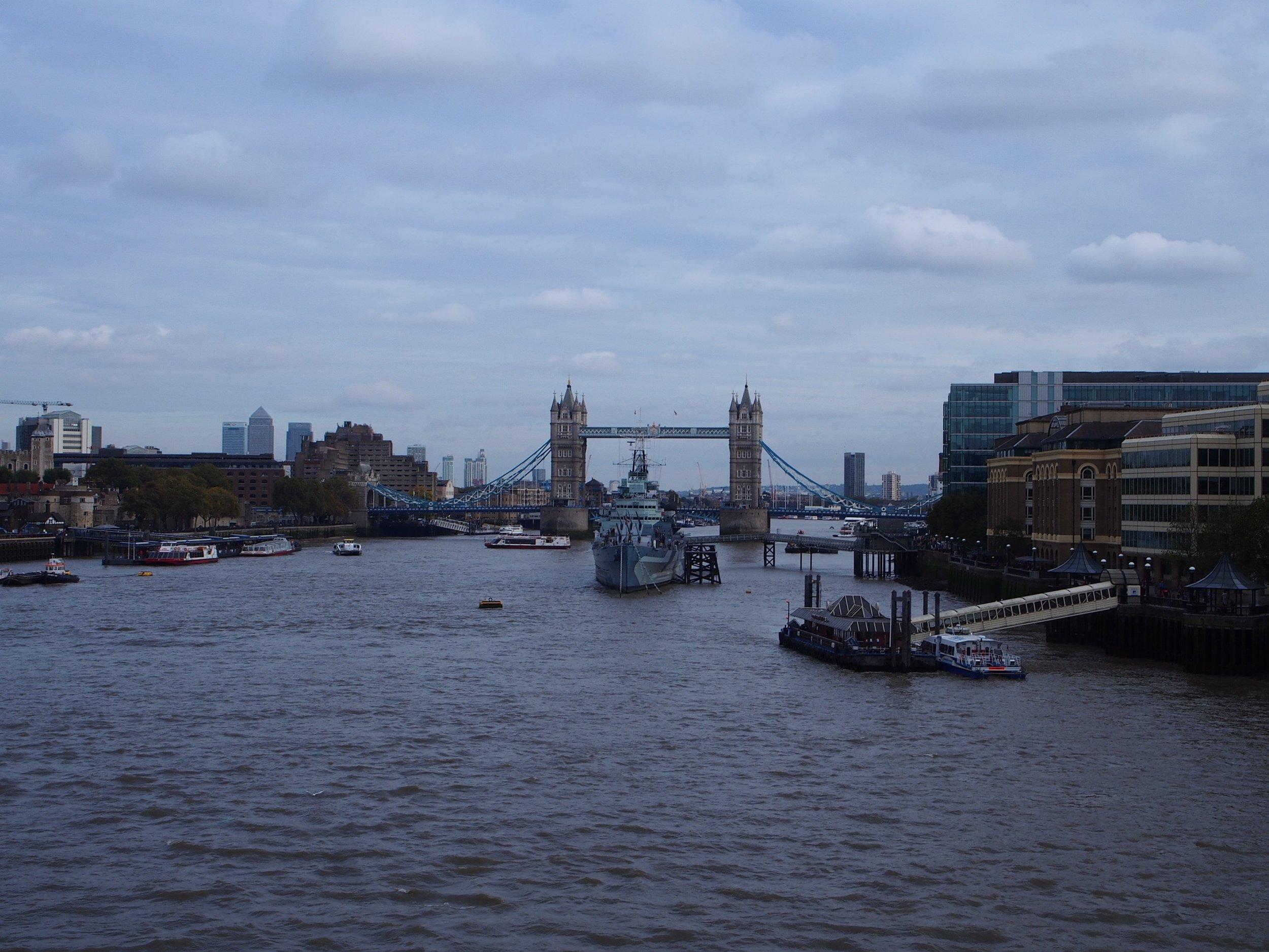 Blackfriars Bridge with a view of the Tower Bridge
