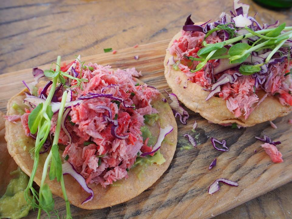 Smoked marlin tacos with red cabbage, pea shoots and guacamole