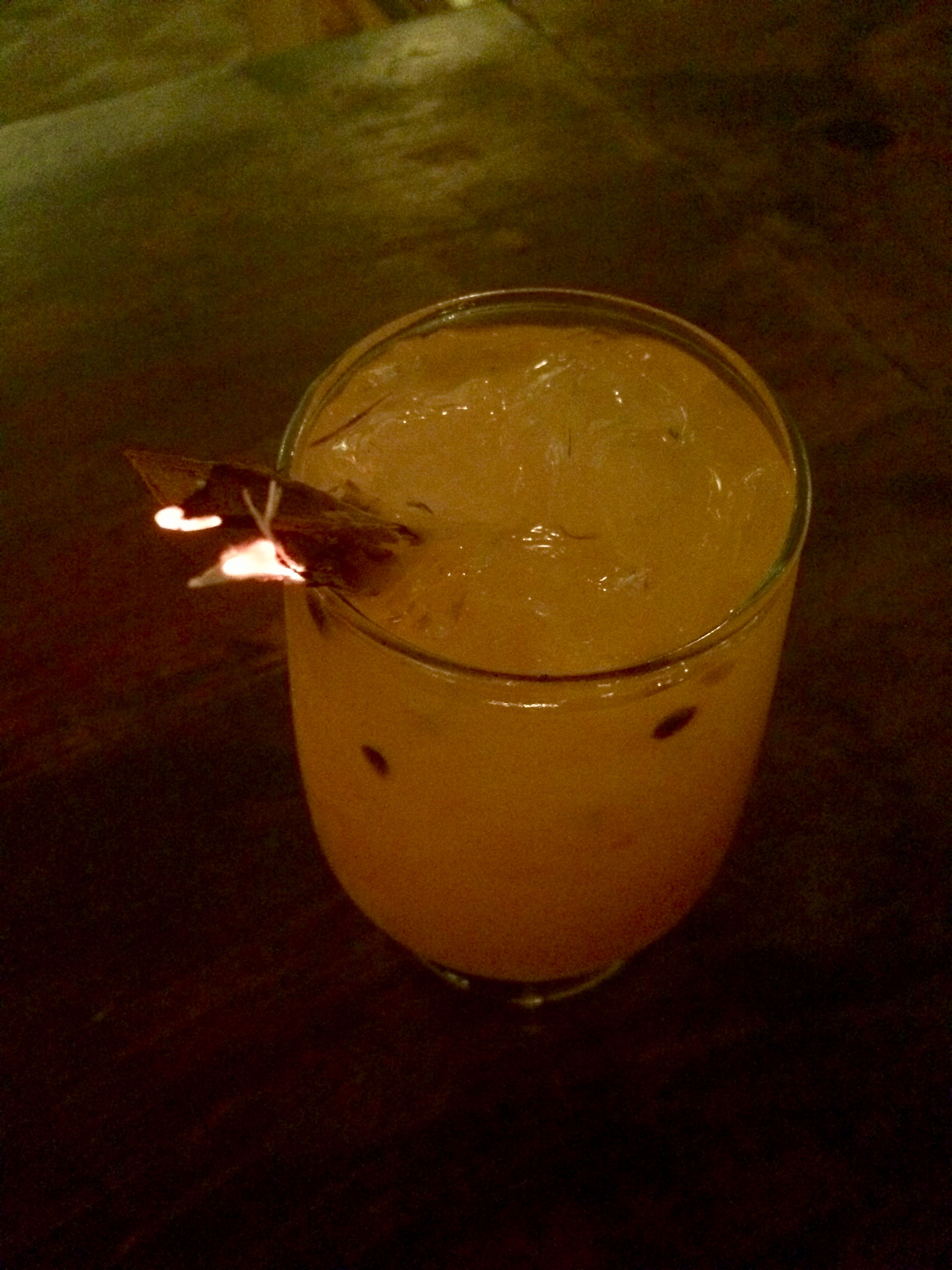 Out in Tulum with a tequila passionfruit cocktail