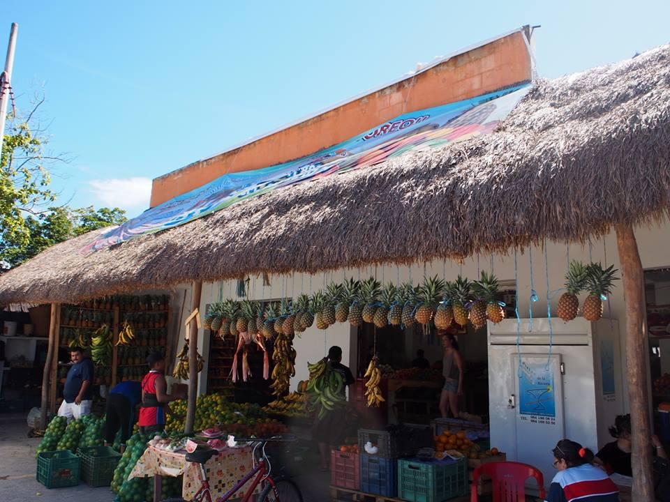 Vegetable and fruit stand in Tulum pueblo