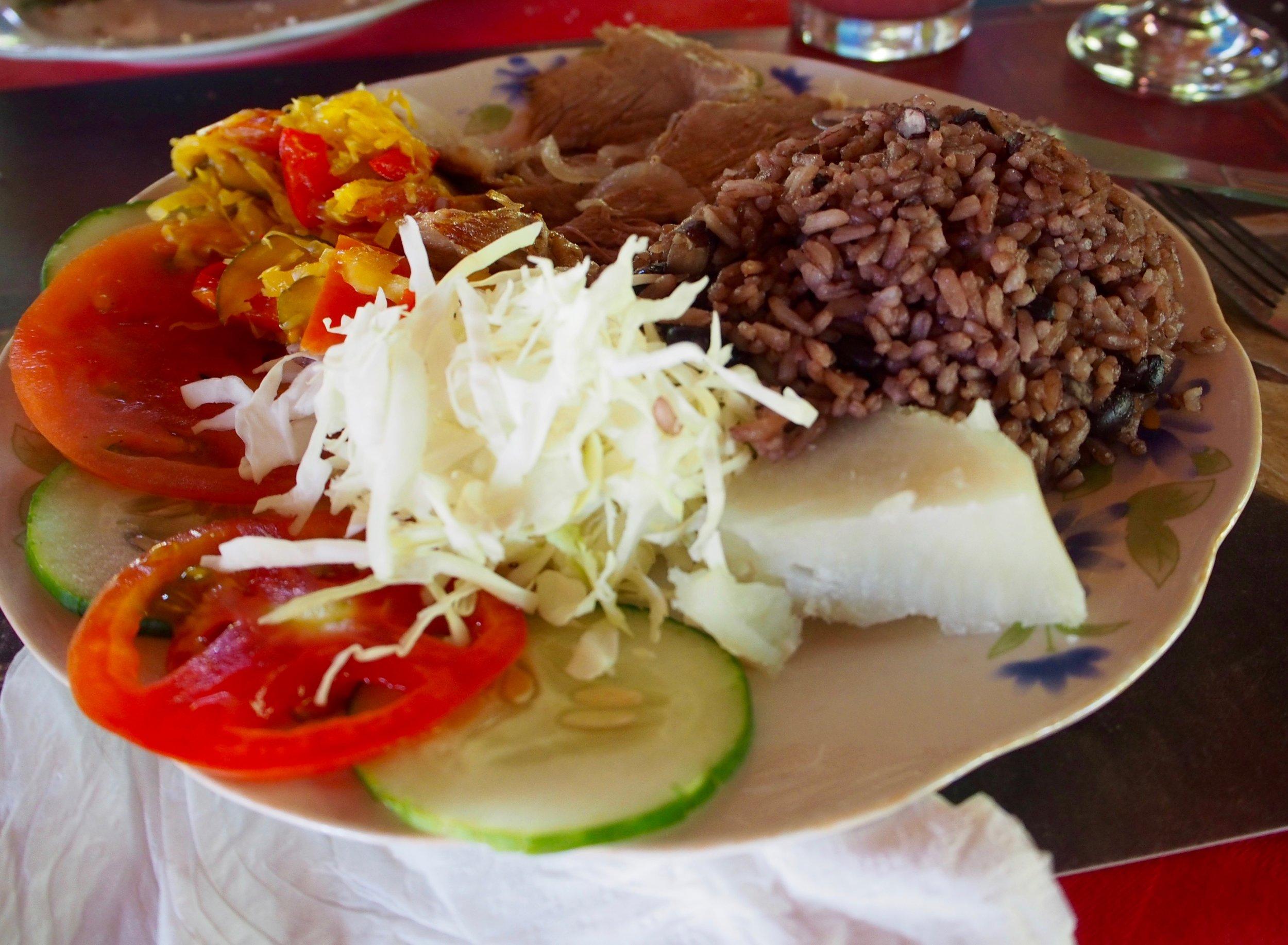 Lunch: pork, vegges, sweet potato and rice & beans