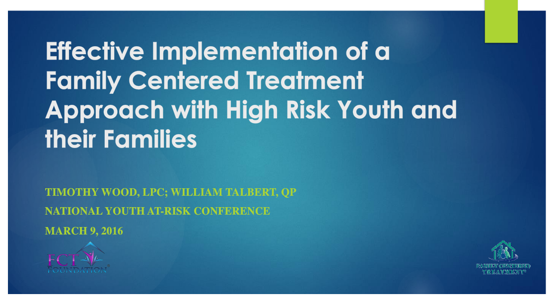 Click to connect to the FCT High Risk Youth presentation on Snack Tools.