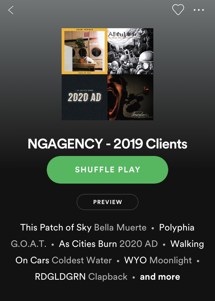Click to view our current client playlist on Spotify!