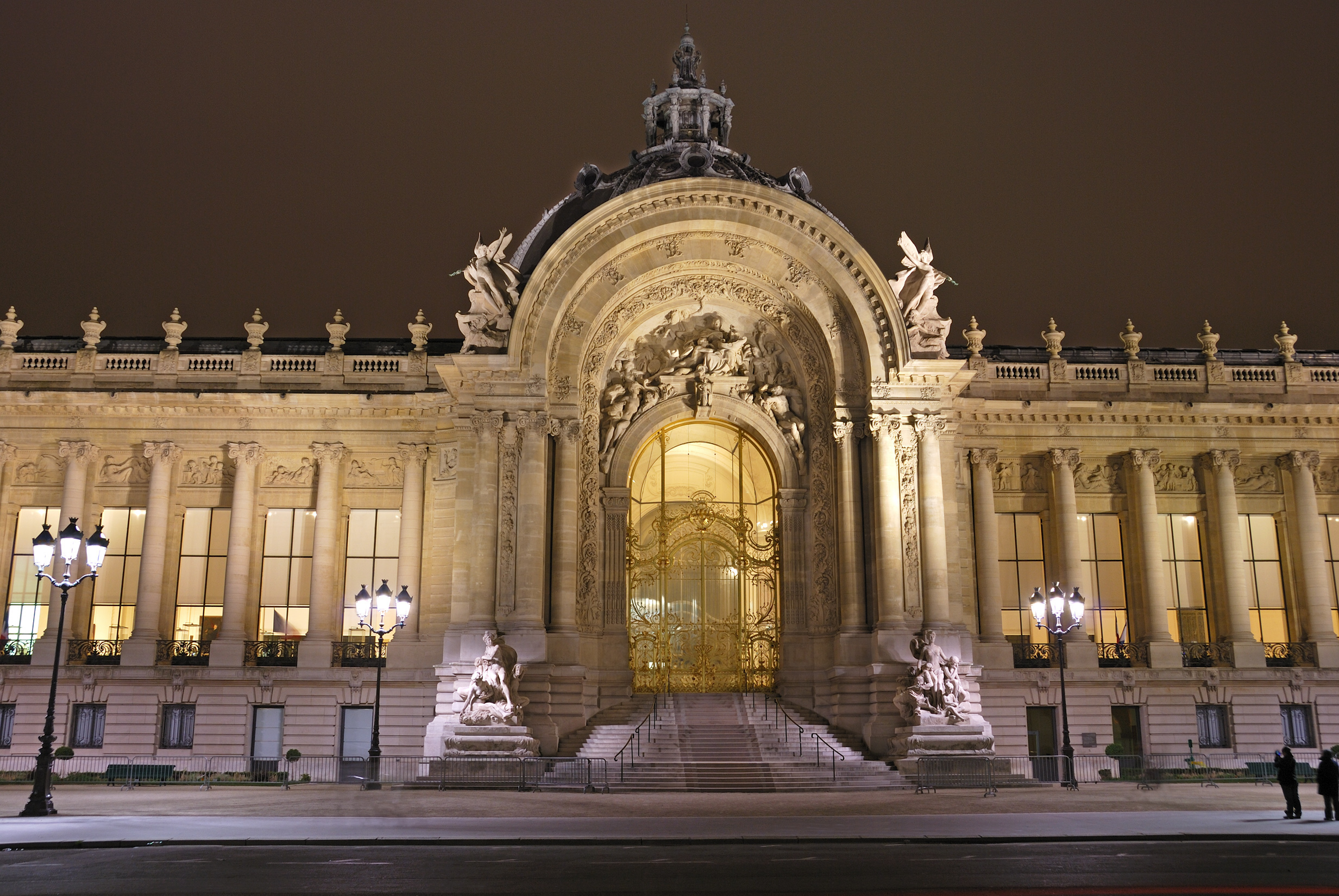 Grand Palais by night, Paris. Main entrance. French architecture landmark and place of expositions..jpg