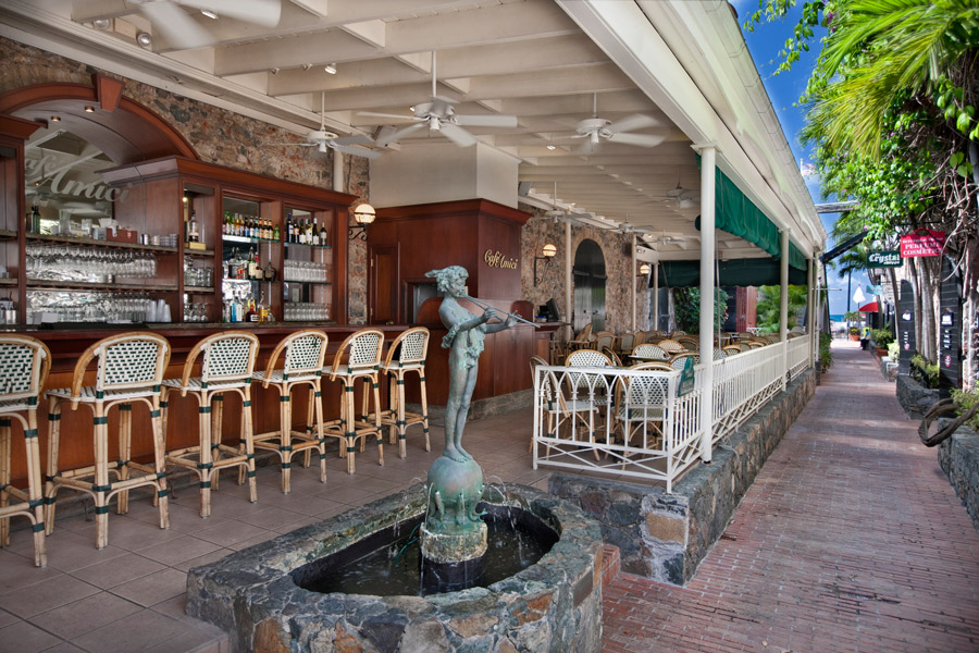 Café Amici - A charming, open-air café offering fresh salads with seafood, grilled chicken or beef, house-made bistro style pizzas and pastas to order. Tropical frozen drinks & martinis are their specialty!340-714-7874 | cafeamicivi.com