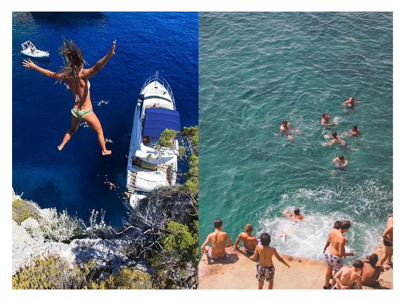 Left: Croatia  Right: Kids play on the Cap D'Antibe en France