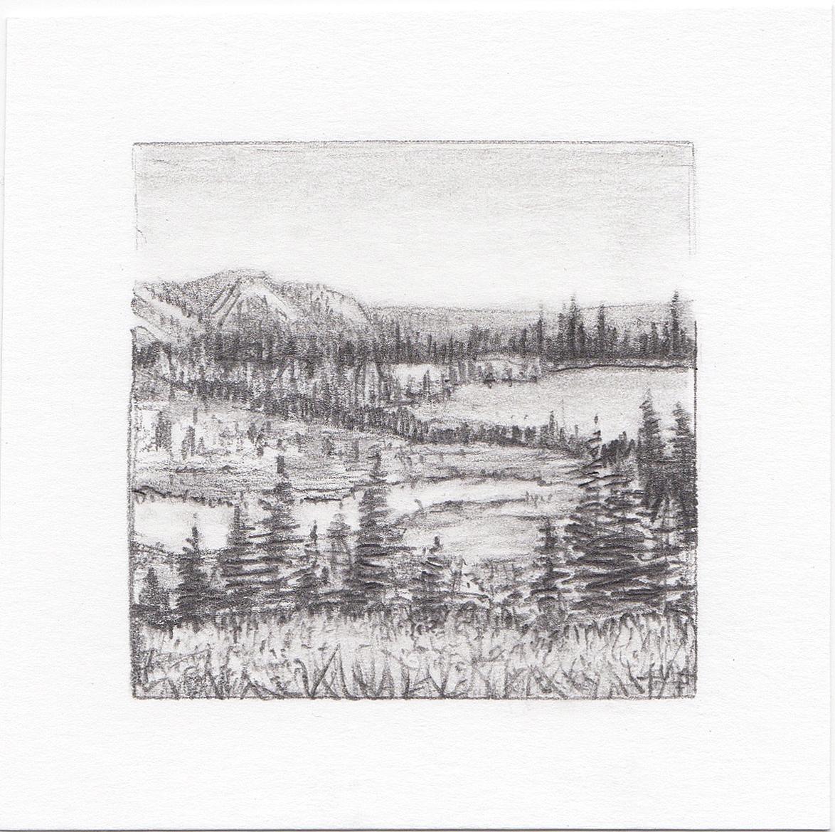 #15 Cuberant Lakes, Uinta Mountains, Utah | 3x3 | graphite