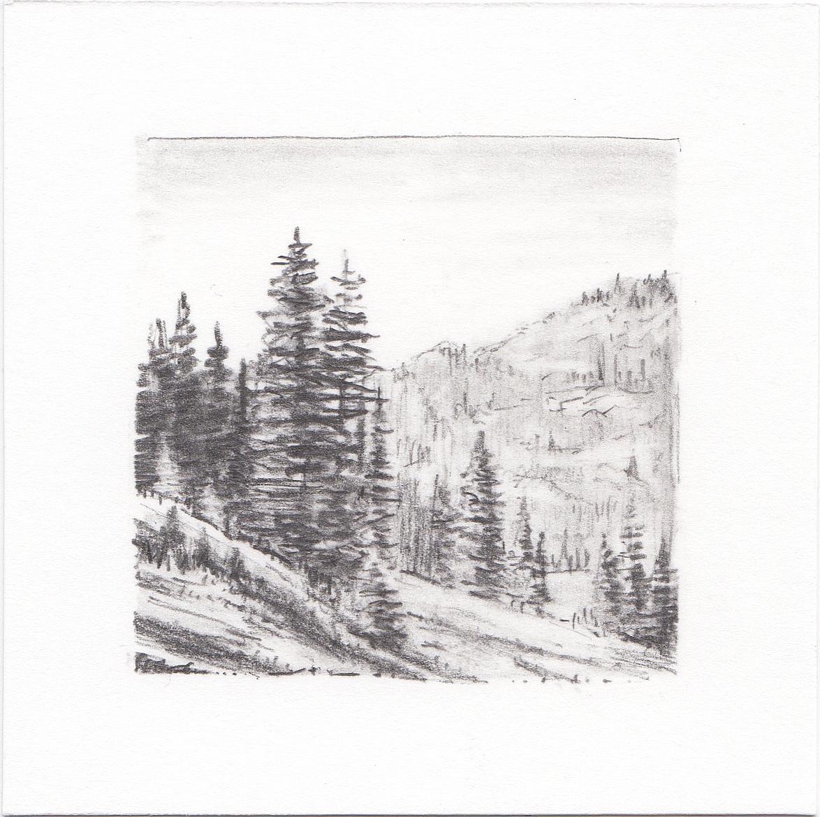 #33 Desolation Lake, Wasatch Mountains, Utah | 3x3 | graphite