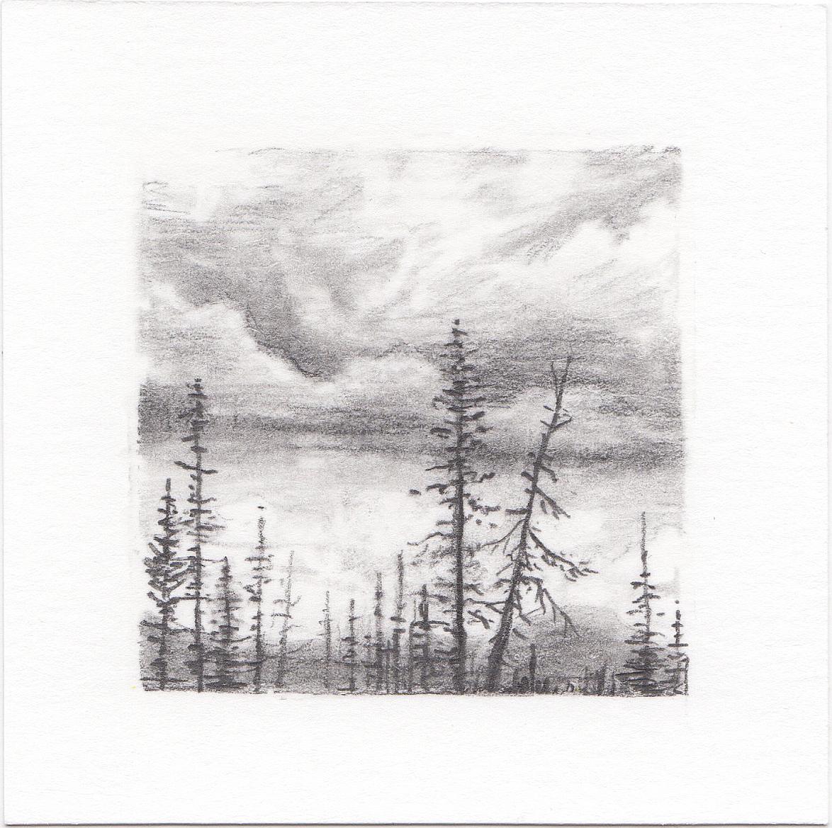 #38 Long Lake, Uinta Mountains, Utah | 3x3 | graphite