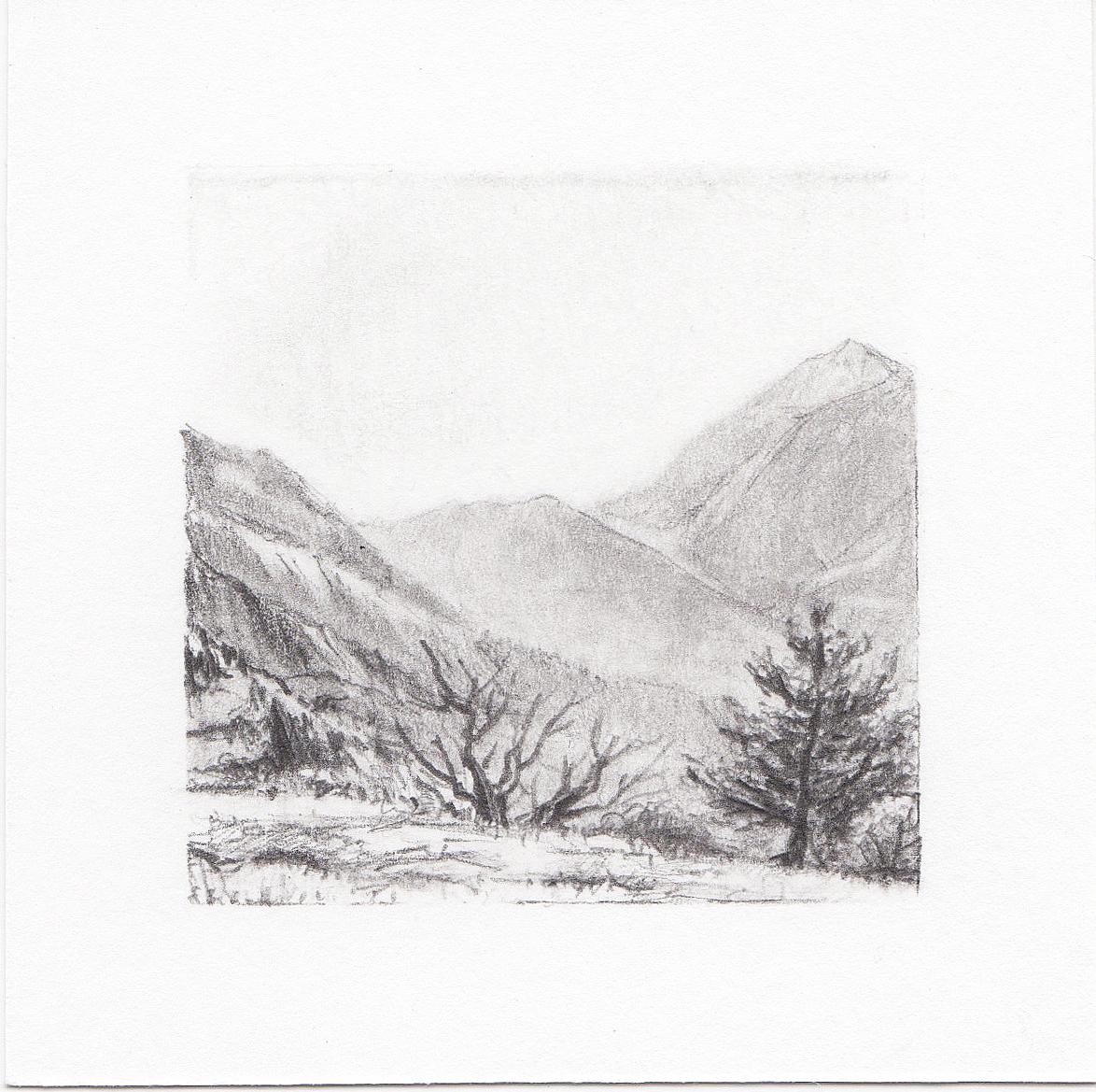 #50 Lone Peak, Wasatch Mountains, Utah | 3x3 | graphite
