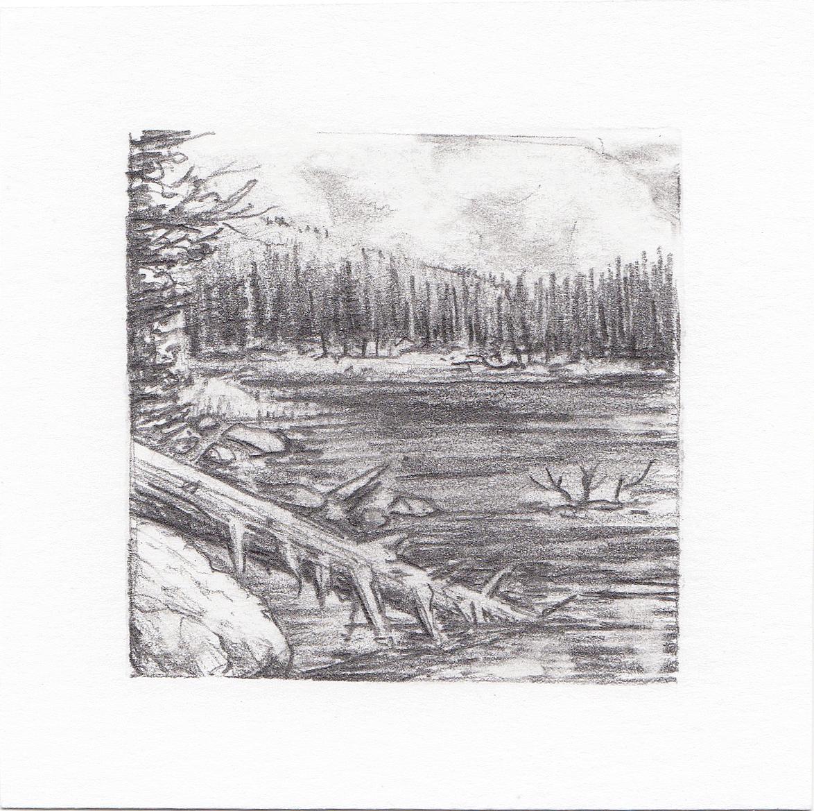 #57 Hayden Lake, Uinta Mountains, Utah | 3x3 | graphite