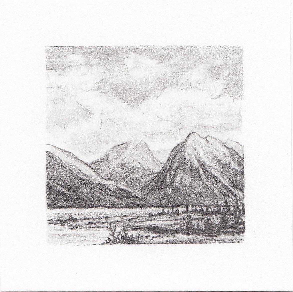 #58 Twin Lakes, Colorado | 3x3 | graphite