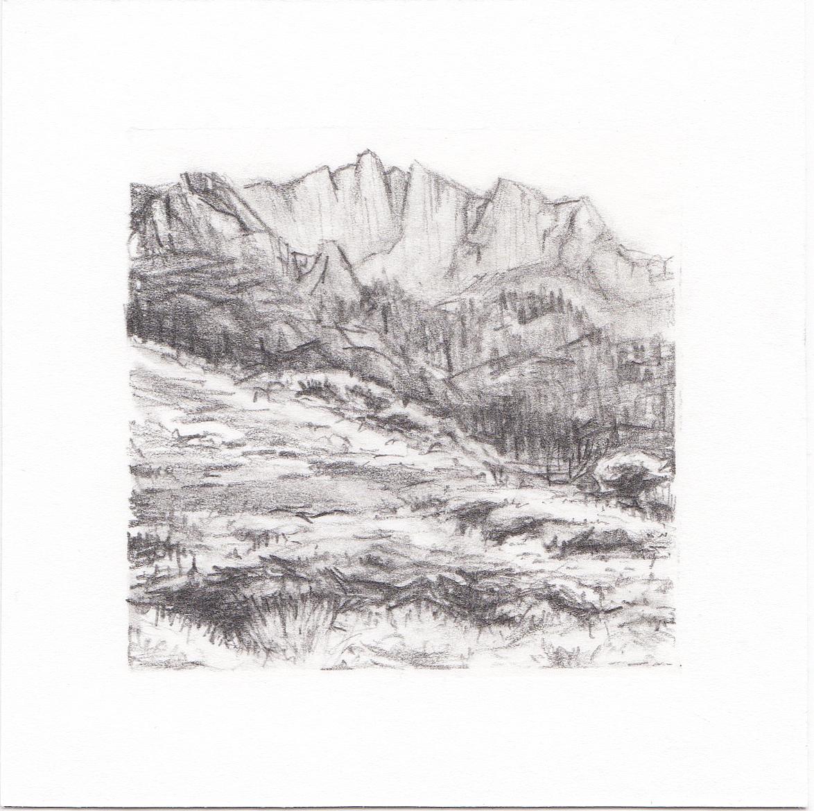 #59 Lone Peak, Wasatch Mountains, Utah | 3x3 | graphite