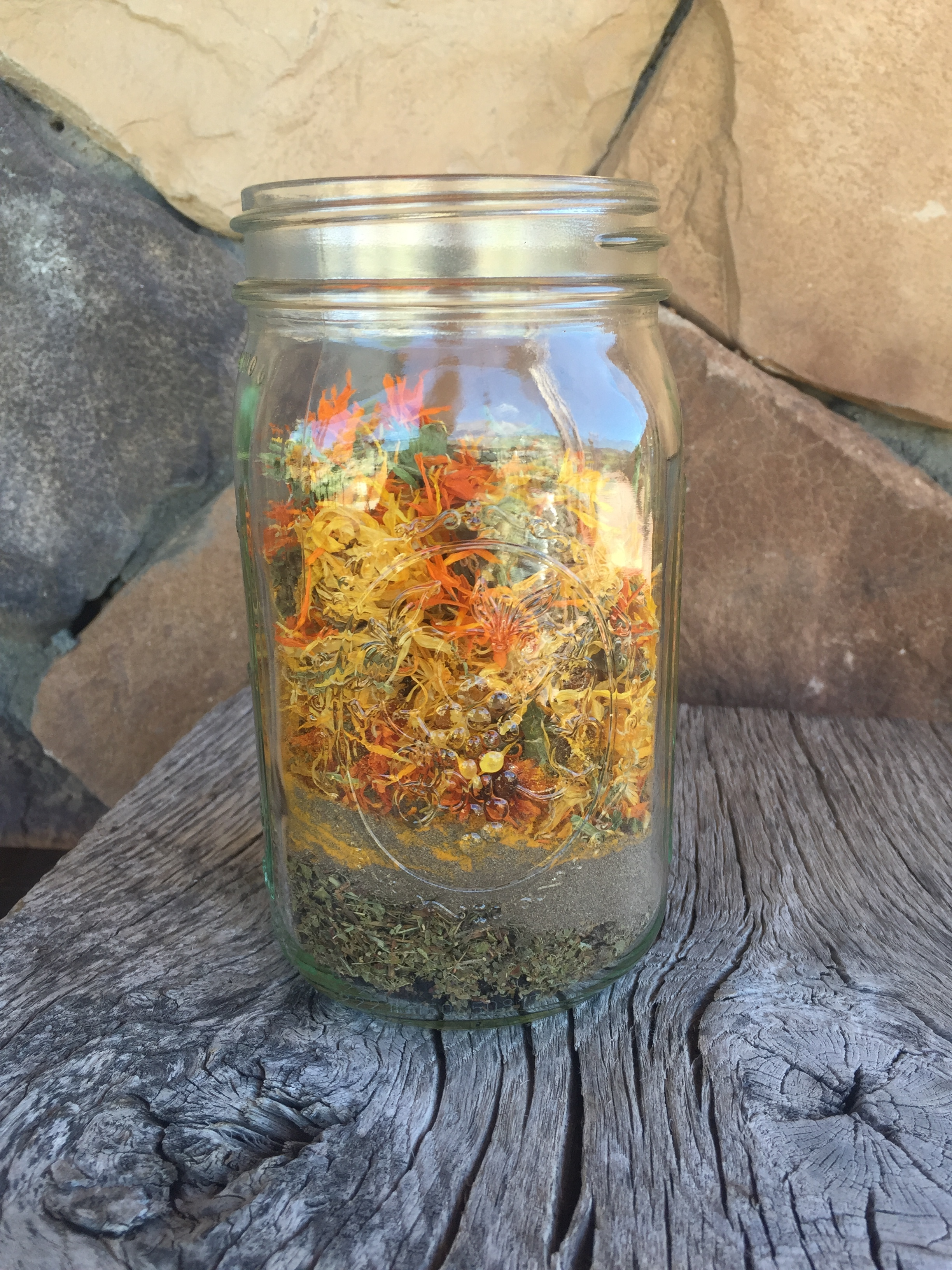 The herbs have been added to the Mason jar!