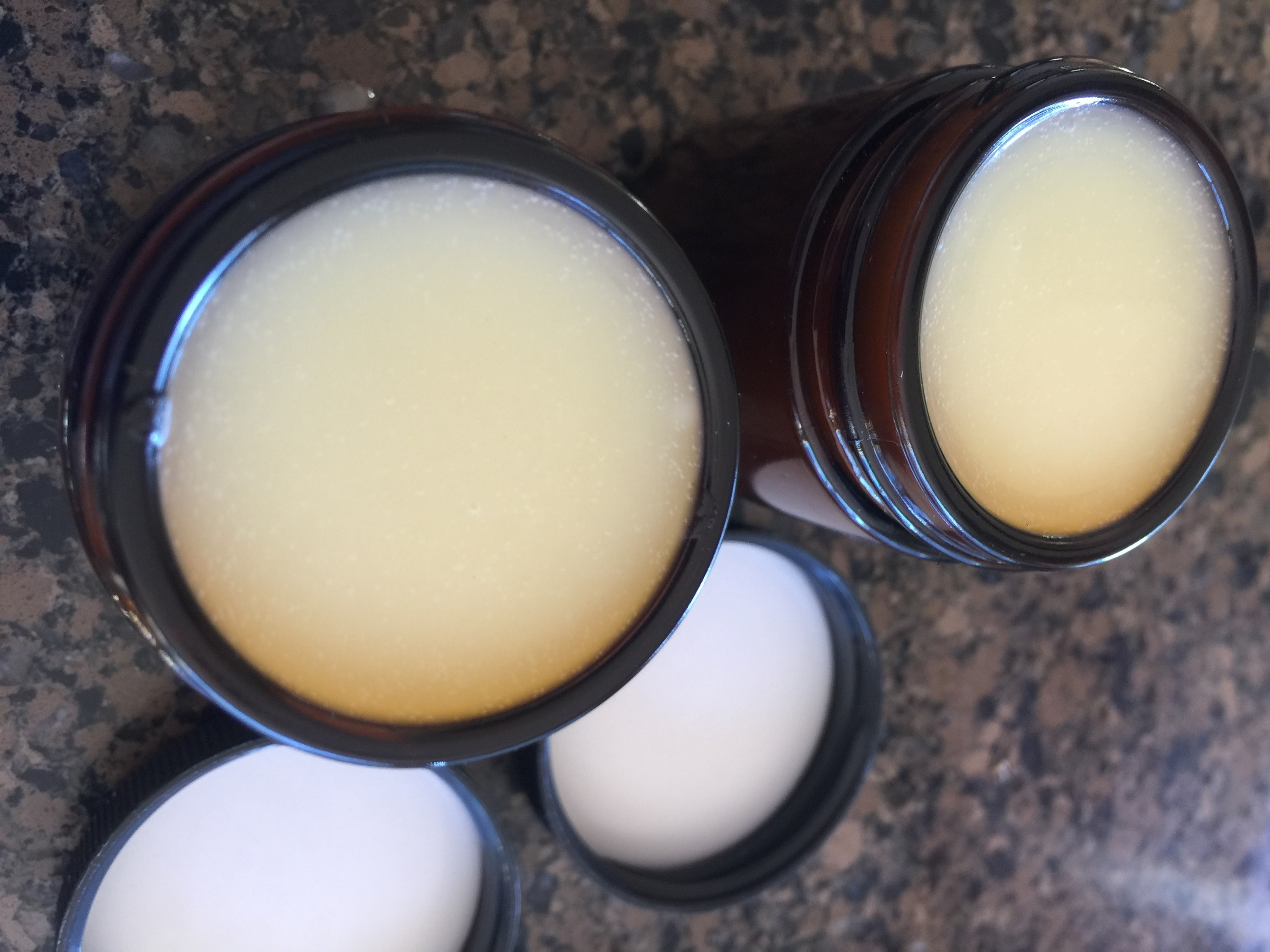 Beautiful, all natural deodorant! These haven't set up yet, so you can see they are still liquid. Place them in the refrigerator for about 30 minutes, and they are perfect!