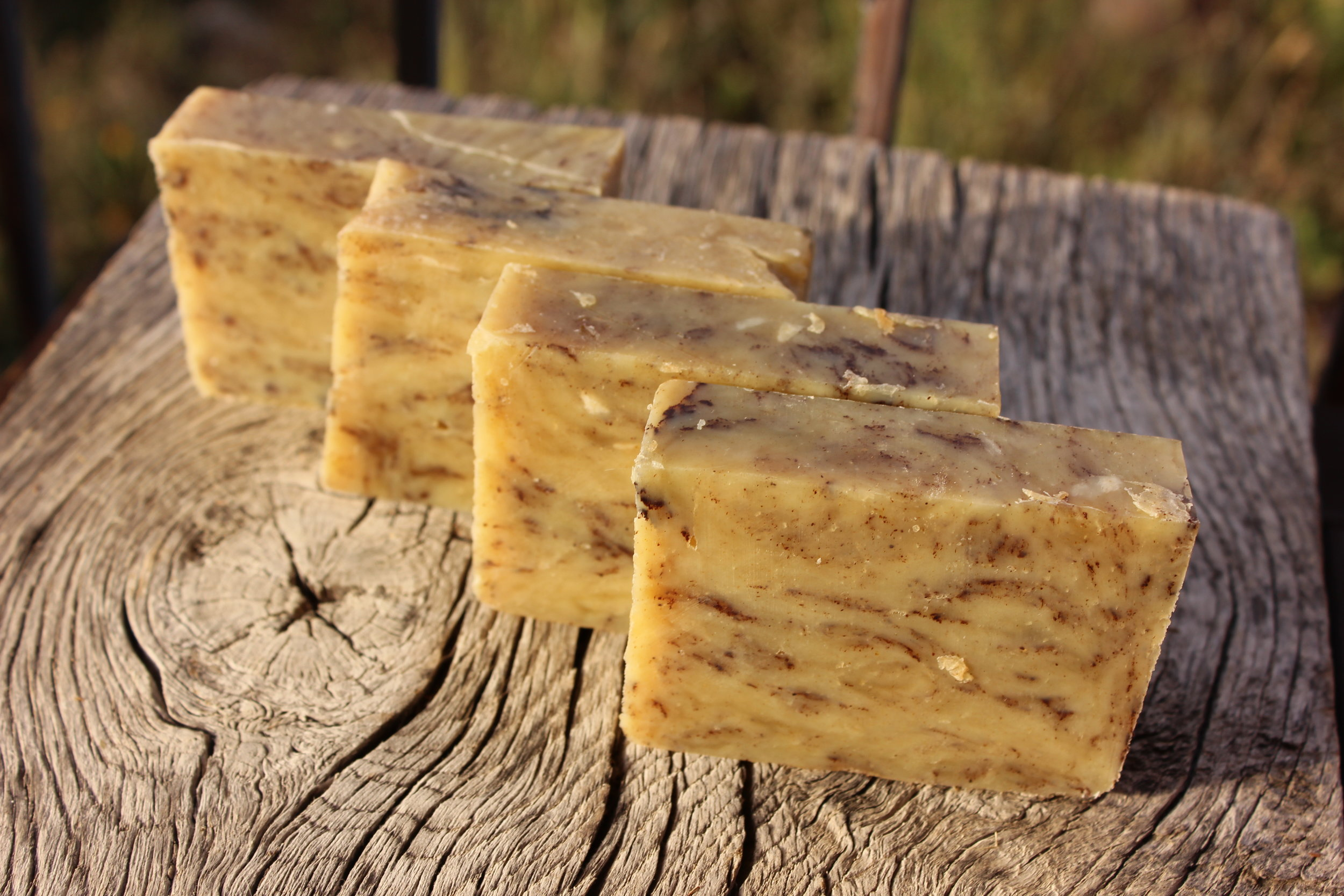 Here are a few bars of this woodsy-spicy soap!