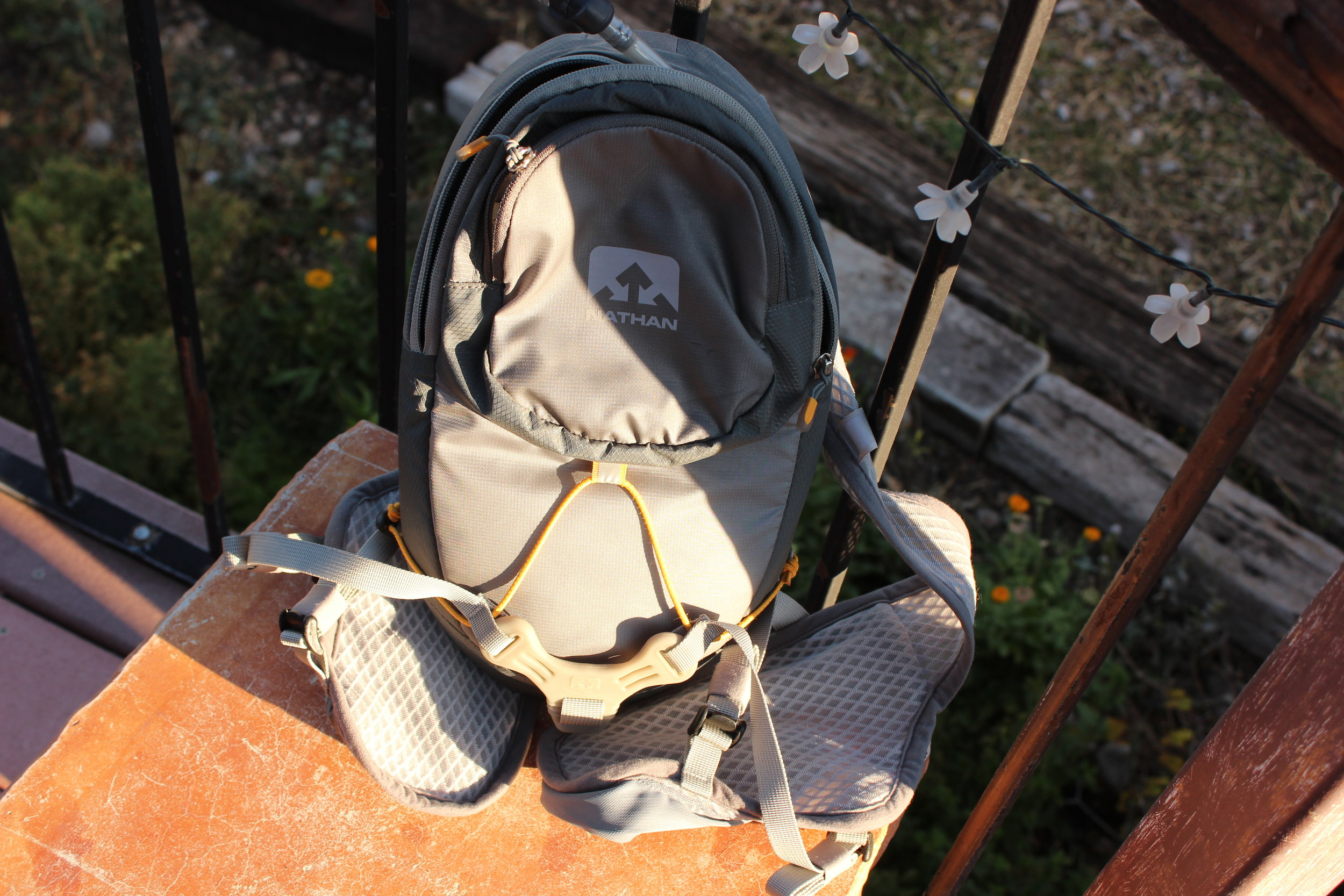 This is my  Nathan water bladder.  It doubles as a VERY small backpack, too. But I'm keeping it in my truck, just in case. I can also easily slip this into the large backpack if I need to walk any distances. The hose sticks right out the top. It's really handy!  Note on this one : It's on the less expensive side of these hydration packs, but for what I use it for, it's perfect. This one holds 2L of water. They are still pricey, though. If you can handle carrying water bottles, that's fine.