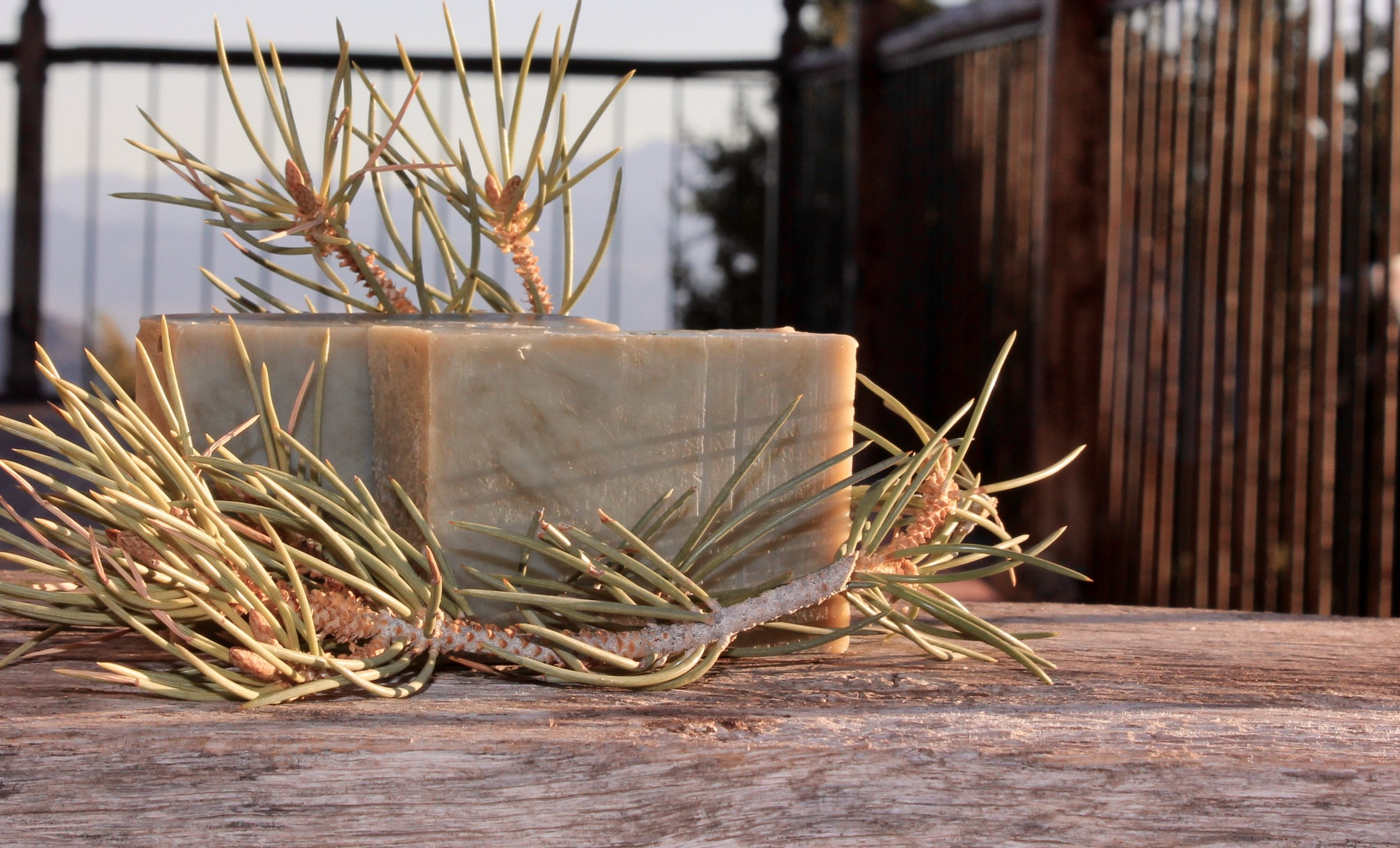 I LOVE making our own handmade soap. This is my number 2 favorite for Christmas & Holidays---Evergreen Pine. I either use powdered Nettle leaves OR, in this case French Green Clay for a natural lovely green tint. It's sunrise in this pic, so the green is muted a bit.