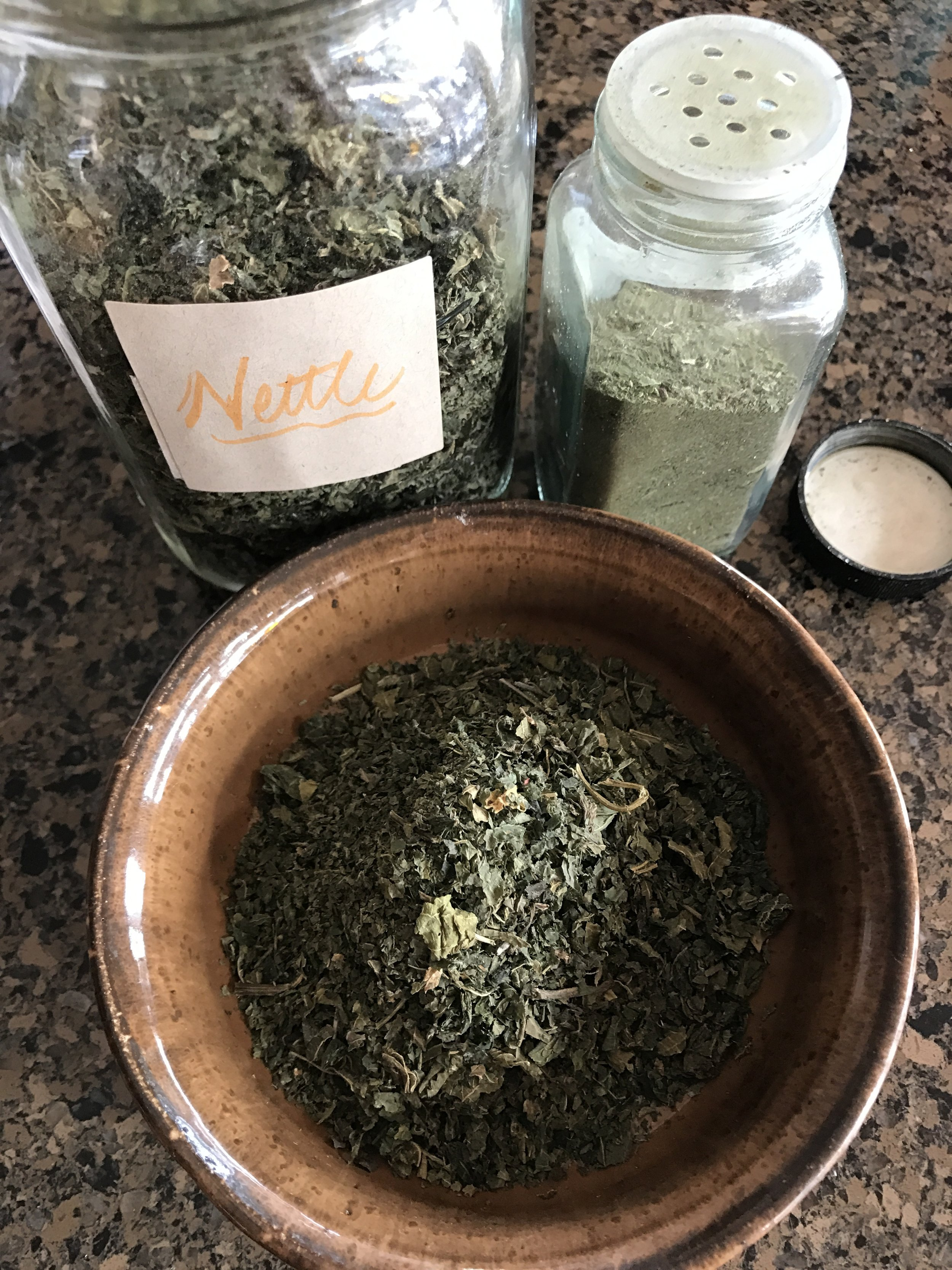 Here's a picture of dried Nettle leaves and the powdered counter part!
