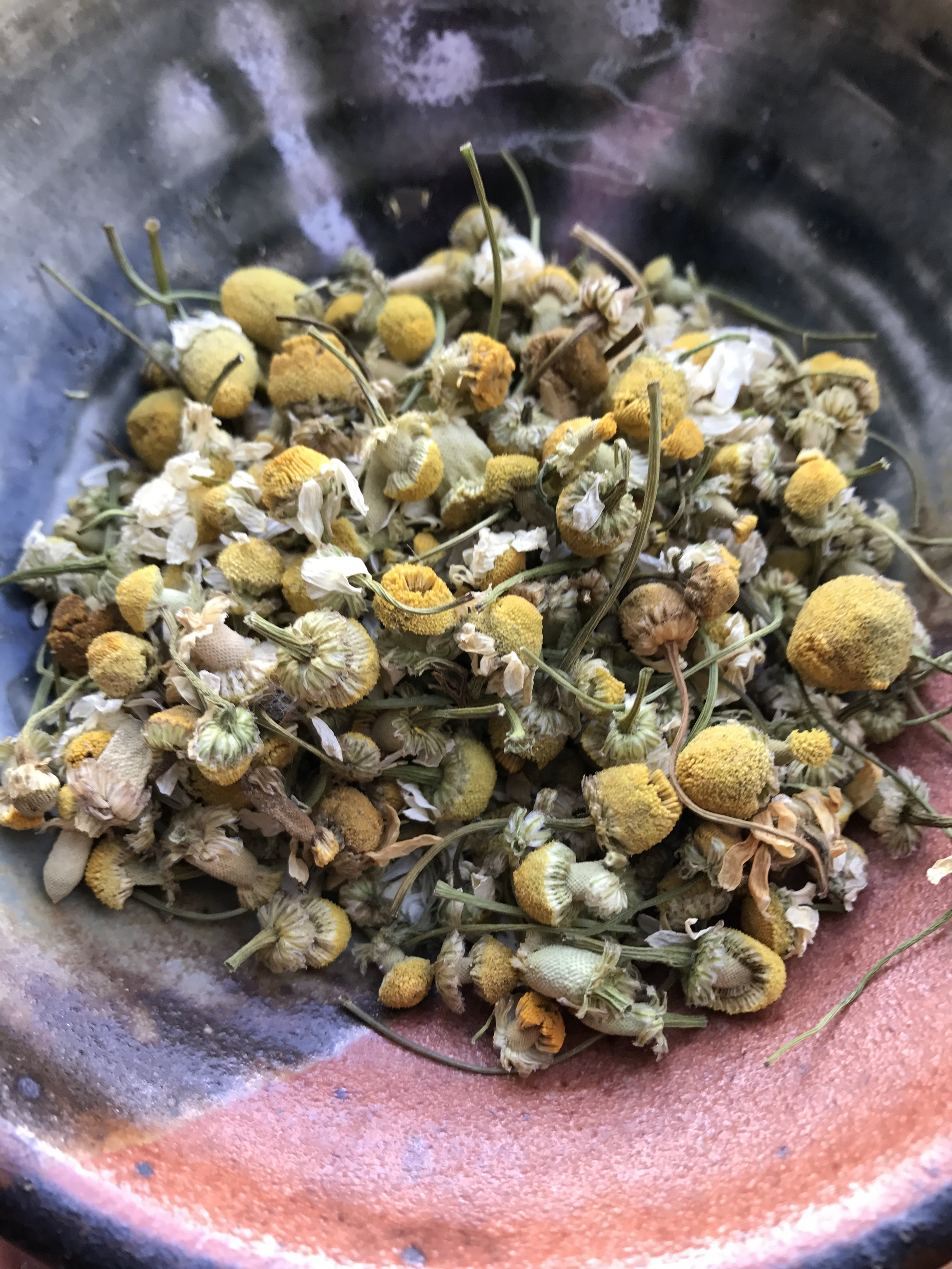 Dried  Chamomile flowers .