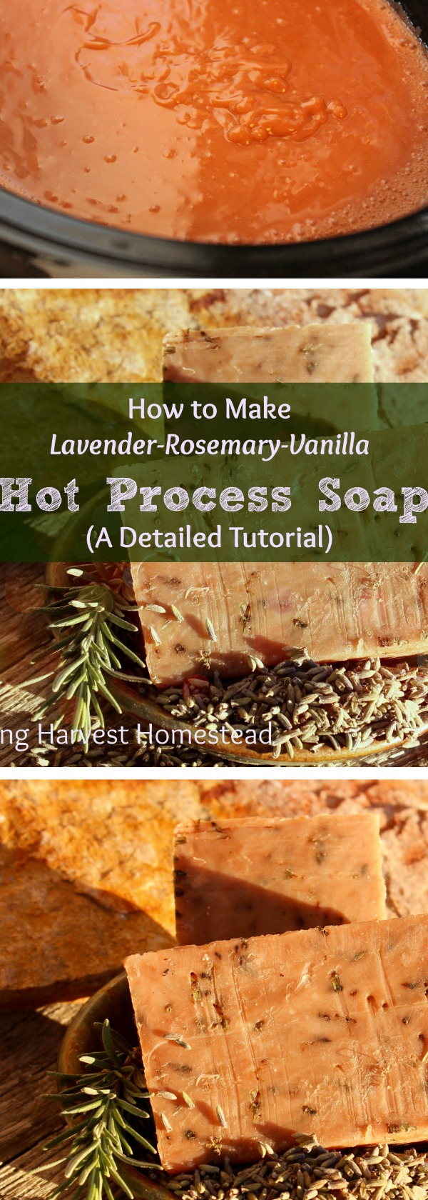 There's nothing like handmade natural soap, right? Have you ever wanted to make your own, but been a little afraid of the lye? Well, fear no more! Here is a SUPER detailed picture tutorial for Lavender-Rosemary-Vanilla Hot Process Soap. The great thing about making Hot Process Soap is that it's ready right away! This soap is infused with pink clay and textured with lavender flowers. It's scented naturally with essential oils! You'll LOVE it!