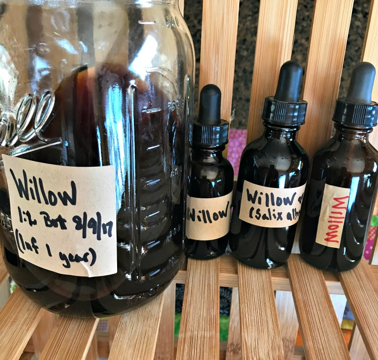 Here are three amber glass dropper bottles filled with my Willow Tincture, and I still have quite a bit left that I'm storing in this Mason jar downstairs in our cold room. NOTE: These were not made using the standard method, but the folk method. I personally like to put my own ratio (non-standardized as herbs and liquid are not scientifically measured) for my own reference later.