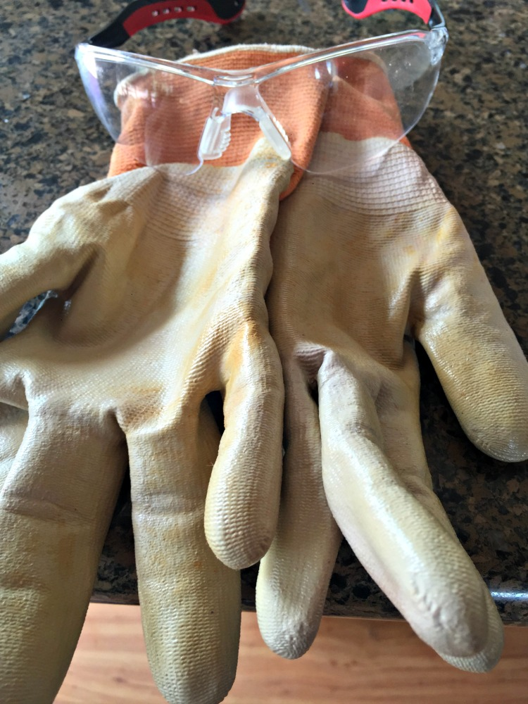 Here are my actual  safety gloves  and  glasses  I wear when making hot process soap with lye.