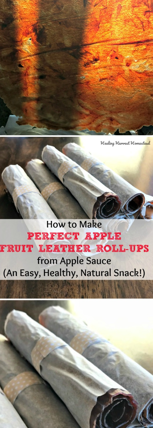 Do you have apple sauce you need to use up? OR...maybe you just want to make a natural healthy snack your kids will love? Here's a recipe and directions for how to make the perfect apple fruit leather from apple sauce! Find out how to make apple fruit roll-ups--the perfect snack for kids and grown ups too.