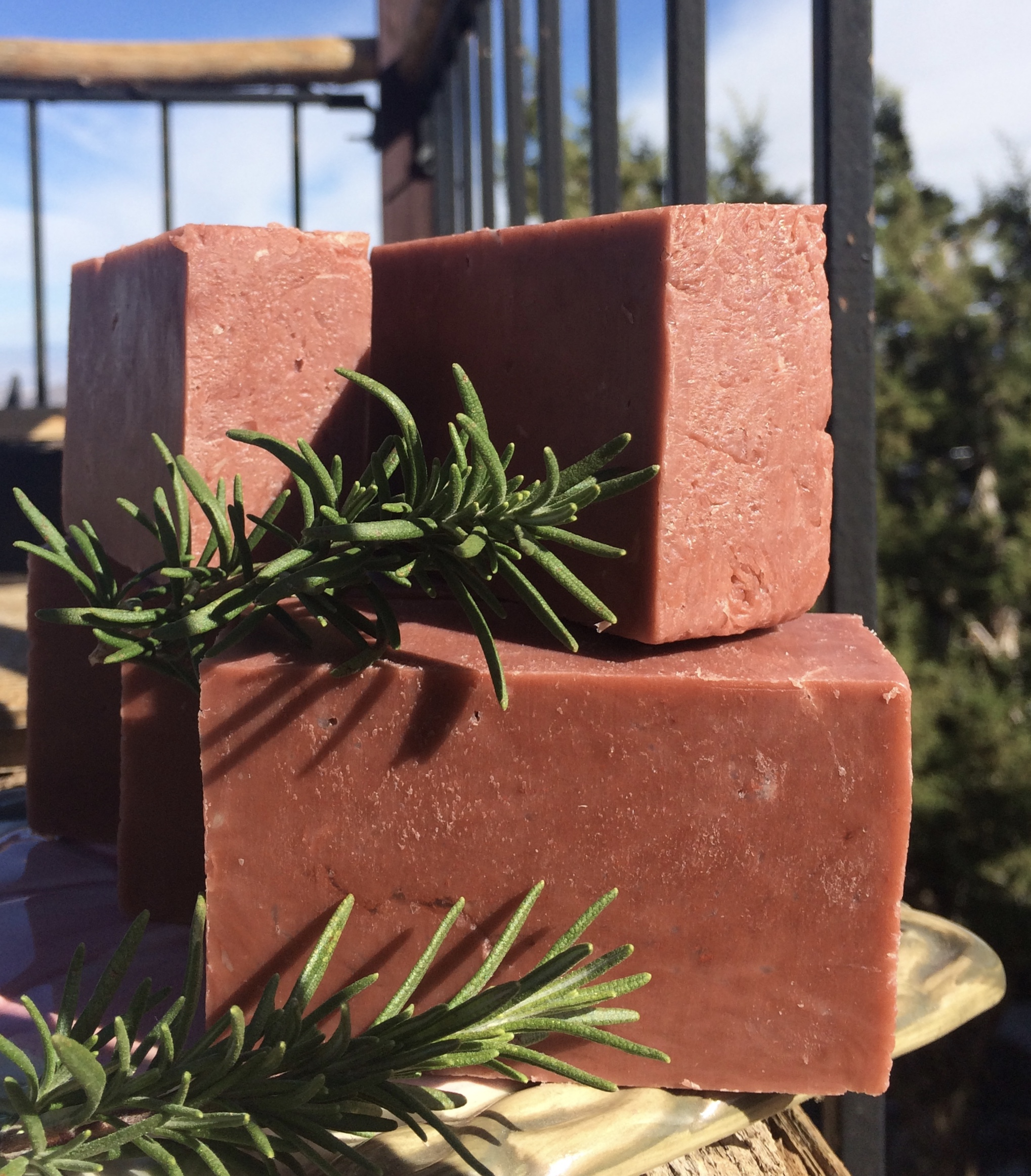 This soap variation is colored with Moroccan Red Clay and scented with Lavender and Rosemary.