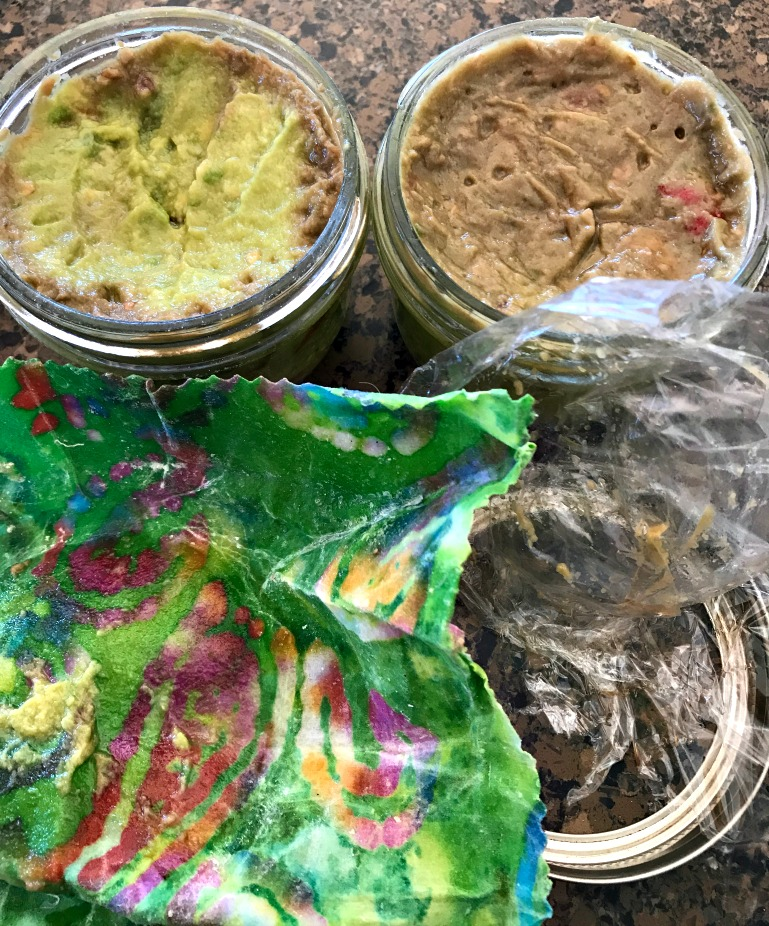 Check this out! The Beeswax cling wrap did a WAY better job keeping the fermented guacamole air tight than that plastic cling wrap!