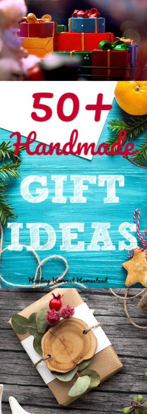 50+ Handmade Gift Ideas and recipes! We're edging into November, so it's time to put your gift giving plan together. If you are making handmade items, and you want to focus on natural gifts, you must click through to check out these amazing ideas! #handmadegift #naturalgift #howtomake #gift #holidaygift #healingharvesthomestead