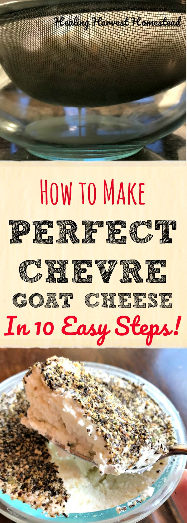 This is seriously one of the best things I've ever done for myself: I learned how to make chèvre (goat) cheese! Yep! I took Corina Sahlin's  Online Cheesemaking Course , and I've learned how to make this cheese, plus Gouda Cheese, Vino al Cabra, and two kinds of yogurt with her easy methods and cheese recipes. Find out how to make Chèvre cheese in just 10 steps!