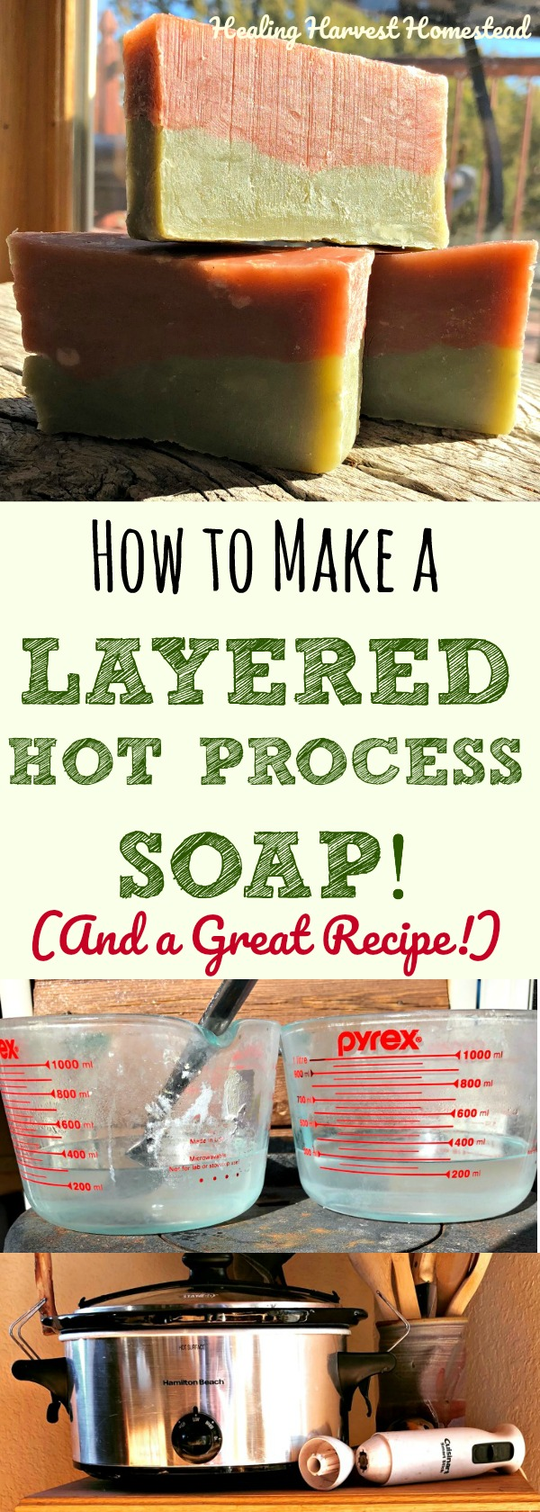 I am on a quest to make hot process soap look more like cold process soap! Yes! Here is a brand new recipe, along with directions how to layer two colors in hot process soap. Beautiful! Easy instructions for layering hot process soap using either one crock pot or two!