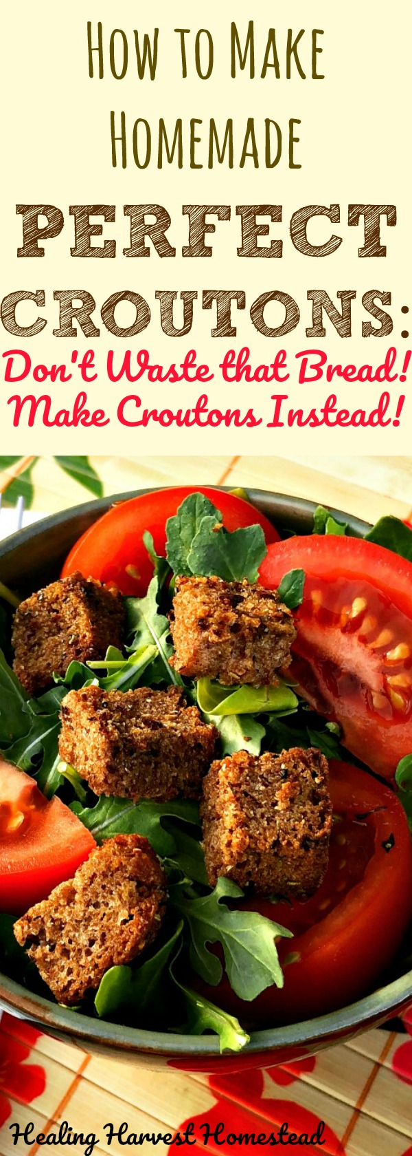 Have extra bread? Or maybe you made a homemade bread mistake? Here's how to save the day and make homemade croutons! You'll be so happy you tried this recipe for homemade croutons!