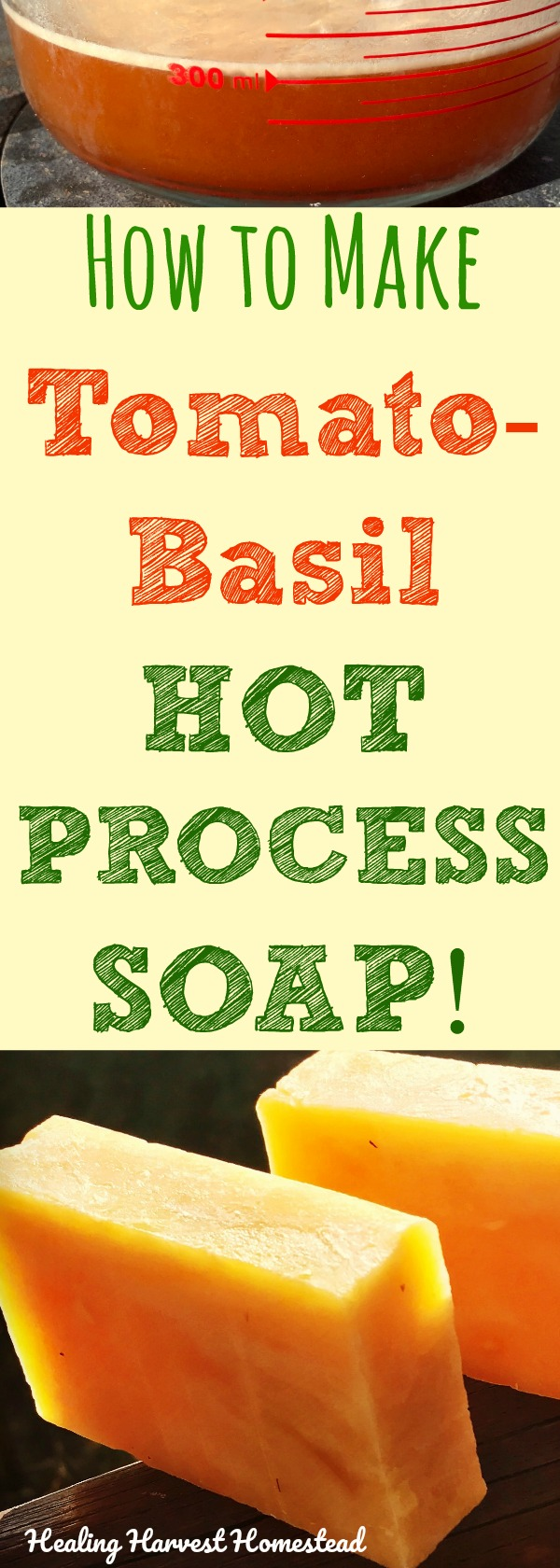 Find out how to make refreshing, herbal Tomato Basil Hot Process soap with this unique soap recipe! It's moisturizing, lathers great, and gives you mental clarity---thanks to the Basil essential oil. Directions for Hot Process Soap with a VERY cool soap recipe.