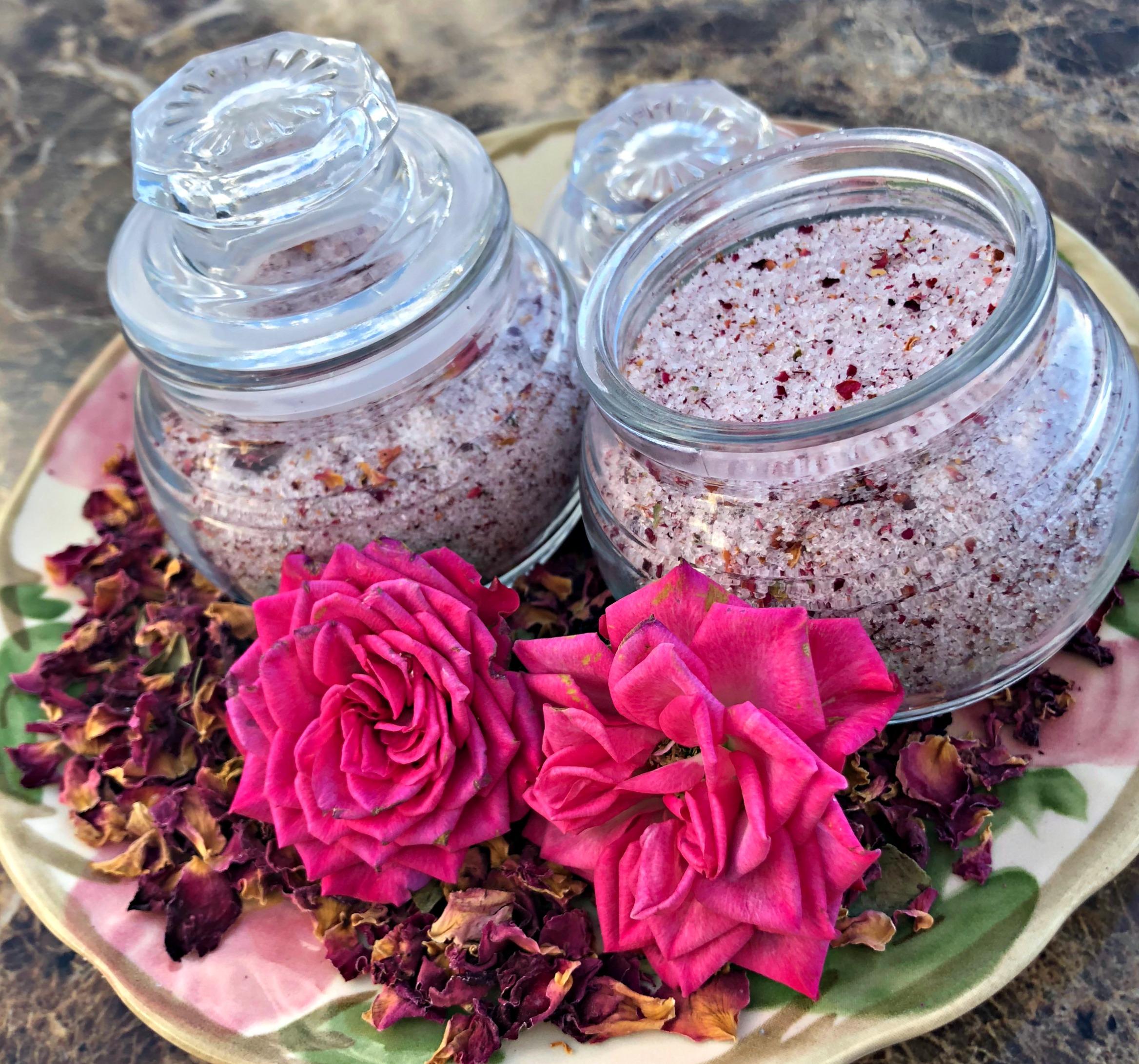 How to create Rose Petal Herbal Body Scrub & Bath Soak---What a great handmade gift!