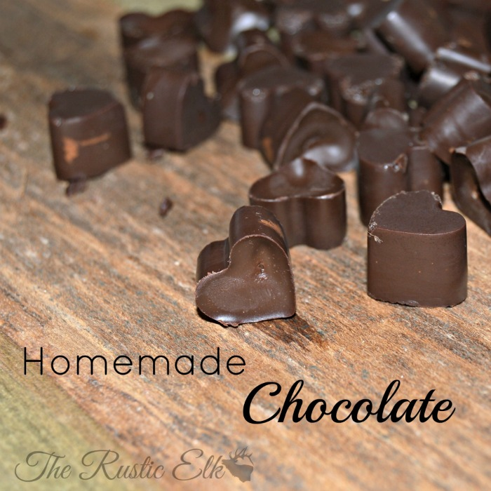 Here is my friend, Danielle from the Rustic Elk's recipe for homemade chocolate! Yum!