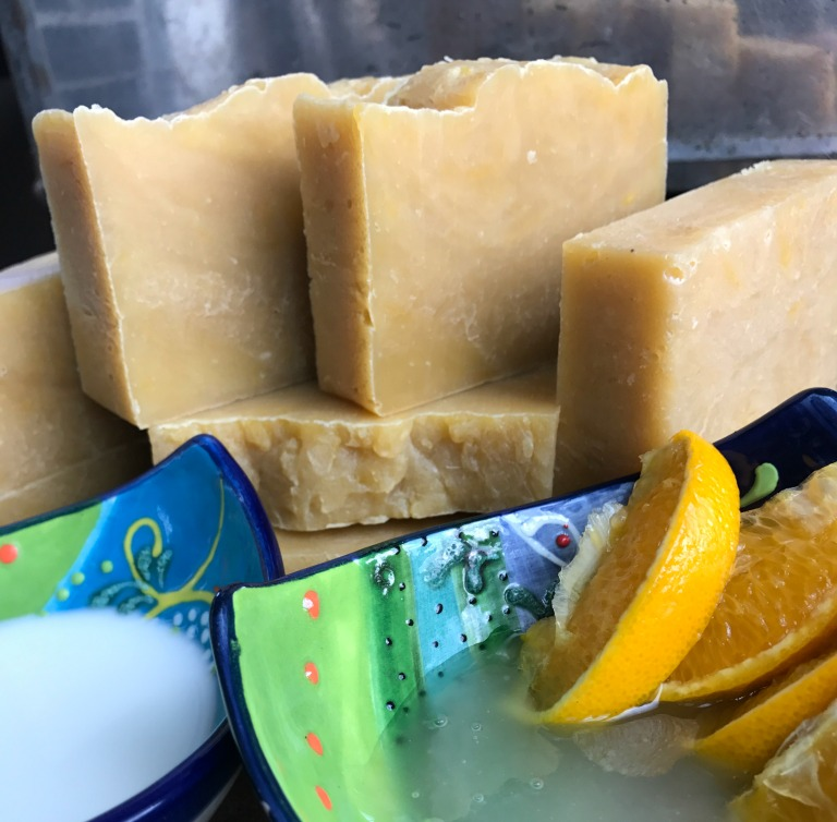 "Here is the same  Goat Milk & Honey soaps  made using the Hot Process Method with a slightly adapted recipe so it would work for hot process. You can see how it has a more ""rustic"" appearance. You can see how I cut the rough top off on the bar to the right, making it look similar to cold process. Also--It's ready to go right away! There are trade-offs with both methods."