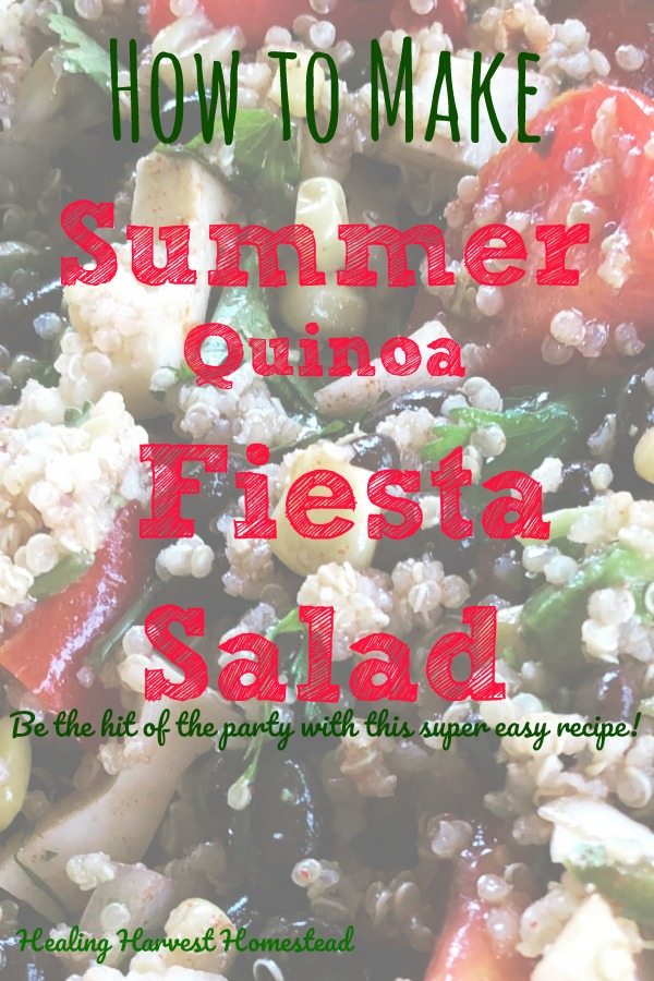 Need a quick and easy summer salad to take to a party? Especially a party with a Mexican or Fiesta theme? This summertime Fiesta Quinoa Salad is 1) DELICIOUS; 2) Inexpensive; 3) EASY; 4) Super Colorful! When you bring this Fiesta Quinoa Salad to your next party (or just serve to your family), you'll be the hit! Find out how to make this Quinoa salad with a Mexican theme in this recipe!