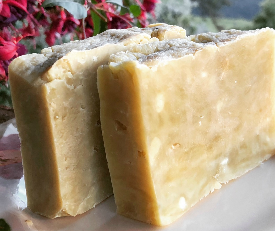 "The soap on the left is Castile soap--pure olive oil. The one on the right is Bastille and made with 80% olive oil and 20% coconut oil. Both are wonderful! What about the rustic appearance? This is hot process soap, which makes for a very rustic and ""real"" handmade soap."