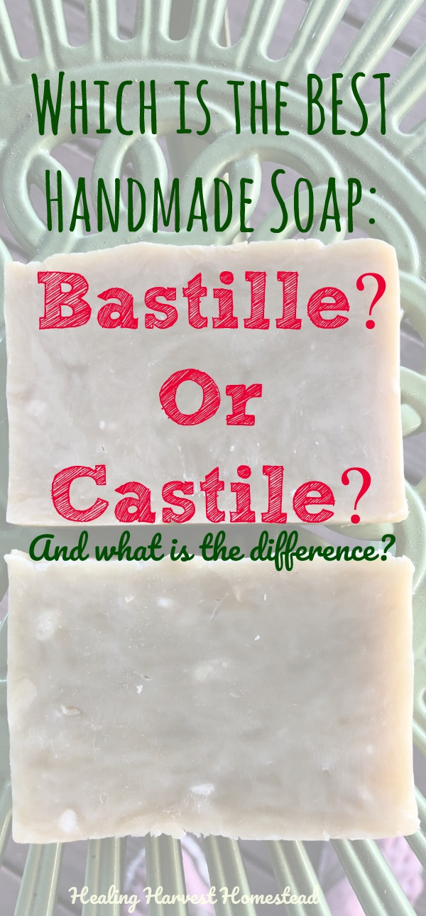 How are bastille and castile soap different? Is one better than the other? How do you make bastille or castile soap? Here are two recipes, one for bastille soap and the other for castile soap. There are also ALL the answers to your questions about bastille and castile soap: Which is best? What is the difference? How to make them? And lots more!