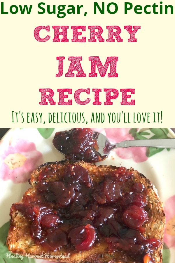 I had ALL these delicious cherries ripen at the same time this year, and I had to do something with them. I thought I'd share my low sugar, no pectin Cherry Jam recipe with you all. I know you'll love it! You can can it, keep it in the fridge, or turn it into a nice freezer jam, too. This is an easy jam recipe I know you'll love! #cherryjam #cherryjamrecipe #jam #jamrecipe #preserves #cherry